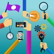 idea concept lightbulb magnifying glass watch smartphone - stock illustration