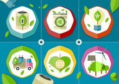 eco icons green battery car - stock illustration
