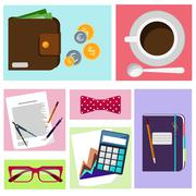 office desktop with item icons - stock illustration
