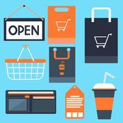 Shopping icons set basket bag label tag purse signboard Stock Illustration