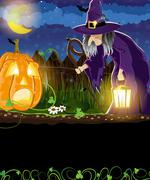 wicked witch and jack o lantern - stock illustration