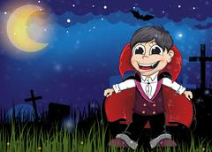 vampire on a old cemetery - stock illustration