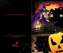 Jack o'lantern and old witch Stock Illustration