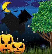 Jack o'lanterns and night city Stock Illustration