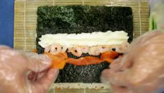 Making of sushi roll Stock Footage