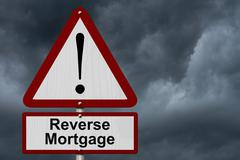 reverse mortgage caution sign - stock photo