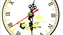Artistic clock on white background - stock footage