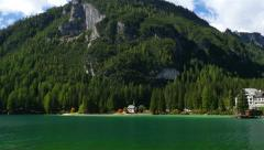 4k UHD pan over lake prags in dolomites alps 11518 Stock Footage