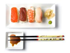 sushi meal top view - stock photo