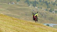 Paraglider start in dolomite alps 11520 Stock Footage