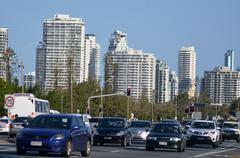 heavy traffic in surfers paradise australia - stock photo