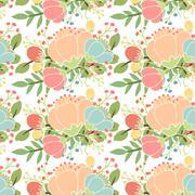 Elegant seamless pattern with flowers Stock Illustration