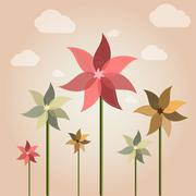 weather vane flower - stock illustration