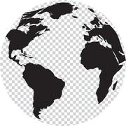 Black and white globe with transparency on seas - stock illustration