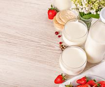 fresh milk with cookies and strawberry breakfast - stock photo