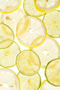 Citrus slices fresh fruit background Stock Photos