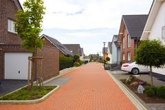 Suburban street in germany Stock Photos