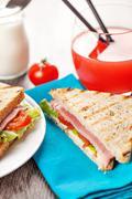 fresh hot sandwiches breakfast meal - stock photo