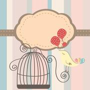 cage bird invitation - stock illustration