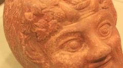 Ancient Roman pottery in the museum Stock Footage