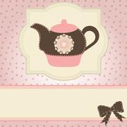 Beautiful vintage card with teapot. tea time. vector illustration Stock Illustration
