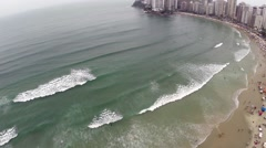 Aerial view from a summer day at Beach in São Paulo, Brazil - stock footage