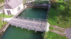 Hydropower plant, on a clear river Stock Footage