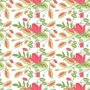 Stock Illustration of elegant seamless pattern with flowers