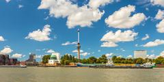 Cityscape of rotterdam alongside the maas river Stock Photos