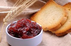 Jam crisp toast and spike Stock Photos