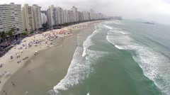 Aerial view from a summer day at Beach in Rio de Janeiro, Brazil Stock Footage