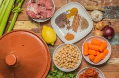 Ingredients for a moroccan dish with lamb and vegetables Stock Photos