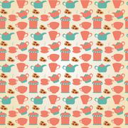 tea tableware pattern - stock illustration