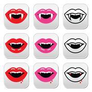 Vampire mouth, vampire teeth vector buttons set - stock illustration