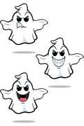 Mean Cartoon Ghost Set - stock illustration