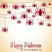 Spider halloween string card in vector format. Stock Illustration