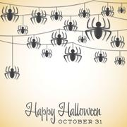 spider halloween string card in vector format. - stock illustration