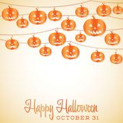 Jack o' lantern halloween string card in vector format. Stock Illustration