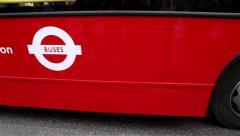London Bus Closeup Stock Footage