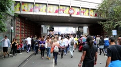 Notting Hill Carnival - Crowd Under Bridge Stock Footage