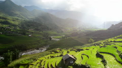 Time Lapse of Clouds Passing over a Valley of Rice Terraces in Sapa Vietnam Arkistovideo