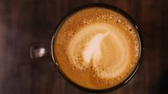 Latte coffee overhead Stock Footage