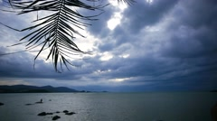 Waving palm branch on a background of cloudy sky and sea in the beach Koh Samui Stock Footage