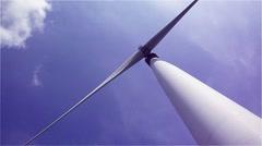 Wind Turbine blue sky high contrast. Stock Footage