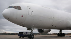 McDonnell Douglas MD-11 close up view slow pan backwards Stock Footage