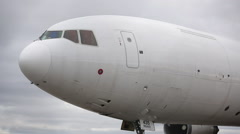 McDonnell Douglas MD-11 close up view fast pan backwards Stock Footage