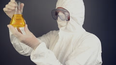 Chemical scientist in protective clothing Stock Footage