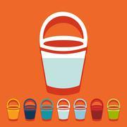 Flat design: bucket - stock illustration