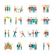 Stock Illustration of Friends icons flat
