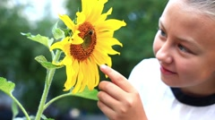 child with sunflower - stock footage